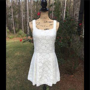 Floral Lace off white dress Top Shop