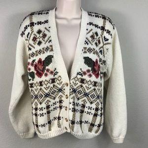 Vintage 80s ramie cream rose cardigan sweater