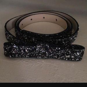 NWT Kate spade black glitter bow belt