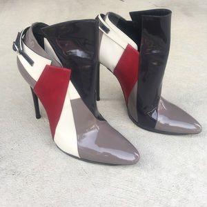 Balenciaga Patent Colorblock Ankle Boots
