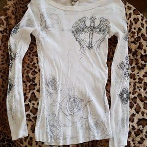 Vocal Rose Cross Long Sleeve T-shirt NWOT