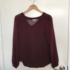 Skies Are Blue Wine Colored Blouse in Small