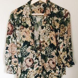 Zara low neck line floral blouse