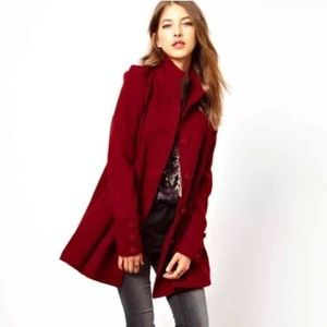 Free People red swing coat size 0