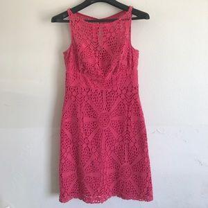 Trina Turk pink crochet print dress. Size 4