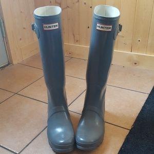 Hunter Boots - Gray Gloss - Size 10