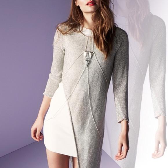 Sass Bide Dresses Sass And Bide White Dress With Metallic Overlay Poshmark