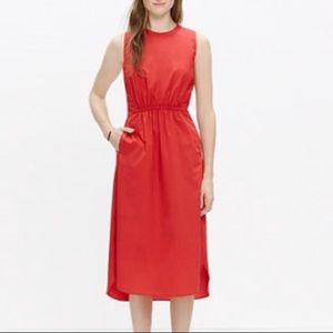 Madewell Cotton Lakeshore Midi Dress in Red