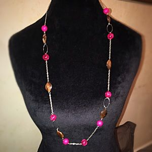 Pink silver and brown necklace