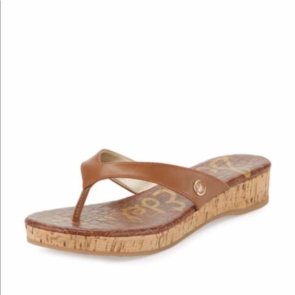 99e8d127be01 Sam Edelman Tanya Brown Wedge Sandals Flip Flops 8.  M 59ebc4fff739bca4cc056a9e