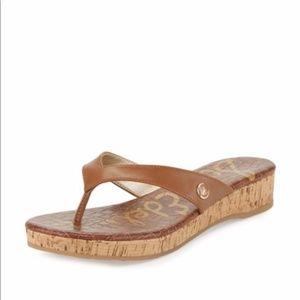 Sam Edelman Tanya Brown Wedge Sandals Flip Flops 8