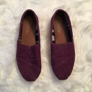 Purple Corduroy Ribbed Toms 8.5W