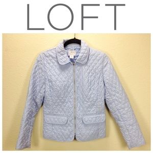 Loft Light Blue Quilted Fitted Jacket