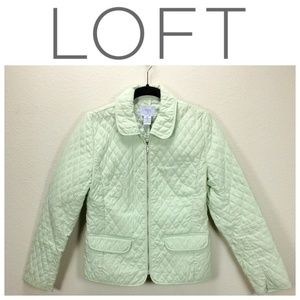 Loft Light Green Quilted Fitted Jacket