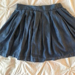 Chambray Circle Skirt w/Accent Zipper ASO Lydia TW
