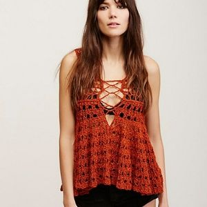 Free people circles within crochet knot top