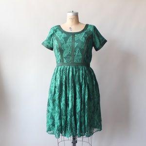 Eshakti emerald lace rose dress size XL/16