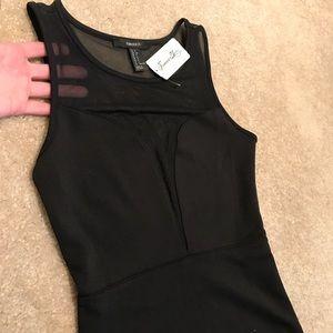 Forever 21 Black Mesh V Plunge Bodycon Mini Dress