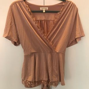 V-Neck Top with Lace Detail