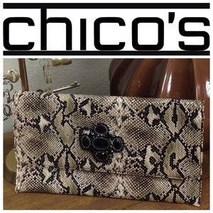 NWOT Chico's Snakeskin Print Envelope Clutch