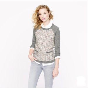J. Crew Tweed-front merino sweater in graphite