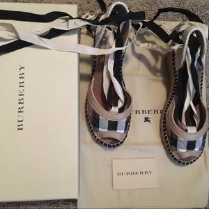 Burberry Lace Up Wedge Espadrilles