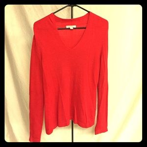 Banana Republic red v-neck sweater.