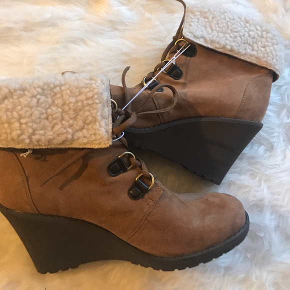 bb5e2677774 Kmart brand wedged lined wedge toe booties boots NWT