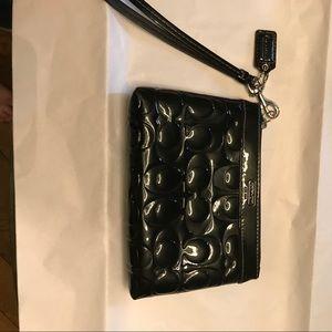 Authentic Coach patent leather wristlet