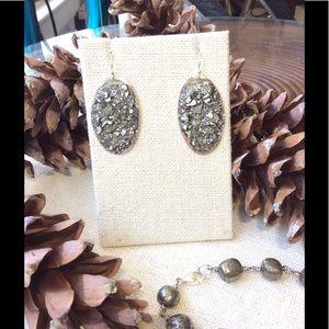 Handmade Pyrite Sterling silver earrings FIRM