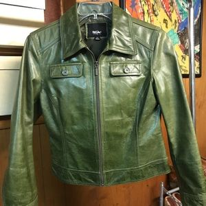 Green 100% leather, lined, moto style jacket.