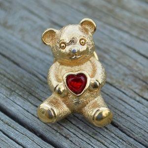 Vintage Avon Gold Teddy Bear Rhinestone Heart Pin