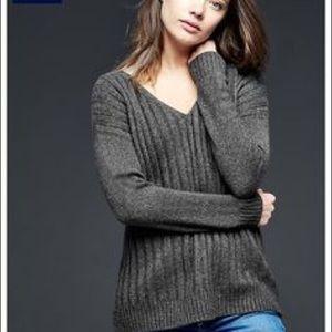 Gap Dark Gray Ribbed V Neck Pullover Sweater XS