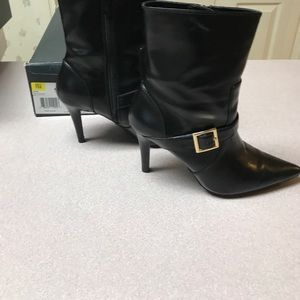 Black mid calf boots buckle accent