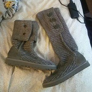 Ugg Cardy Tall Grey Knit boots. Sz 7