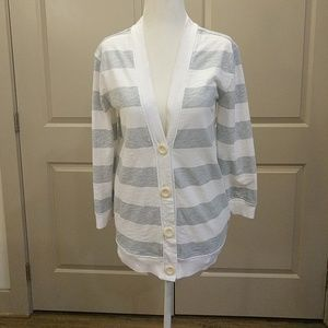 💋 J Crew white gray striped cardigan