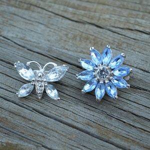 Butterfly and Flower Faux Rhinestone Pin Pair