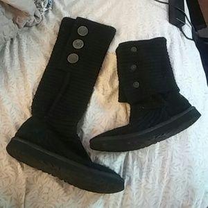 Ugg Cardy Tall Black Knit boots. Sz 8