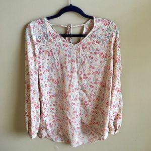 LC Lauren Conrad:Pastel Floral Long Sleeved Blouse