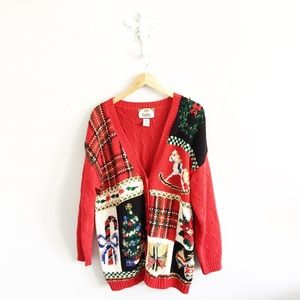 Vintage Ugly Christmas Red Sweater Cardigan