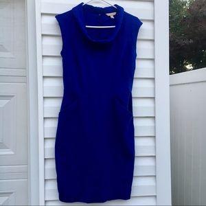 Blue sleeveless cowl neck dress