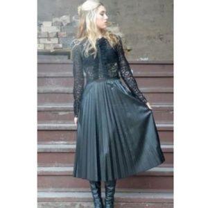 ZARA black lace and faux leather midi dress