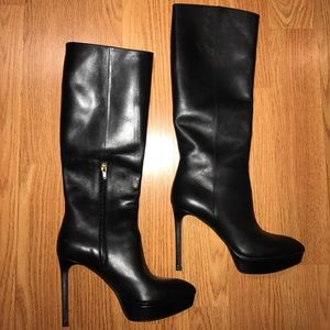 YSL black leather knee high stiletto boots