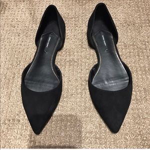 Black suede pointy shoes