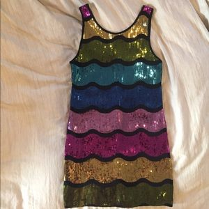 Fun disco rainbow sequin scoop back dress