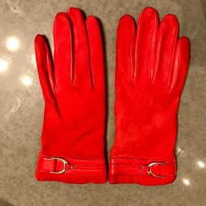 Cole Haan Red Suede/Leather Gloves