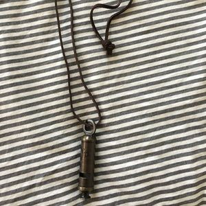 Brass falling whistle necklace