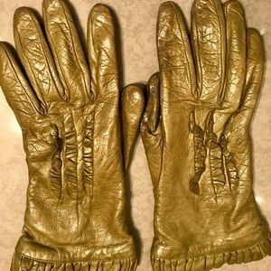 Olive Green Leather Gloves
