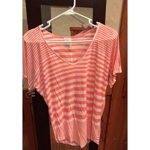 Ella Moss Pink and White Striped Top