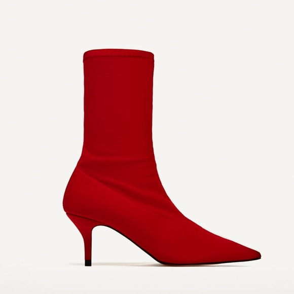 a6ed6cf2e7b Zara red fabric high heel ankle boots